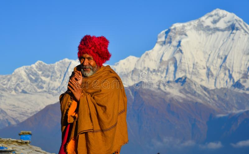 Local man on mountain in Khopra Village, Nepal stock photos