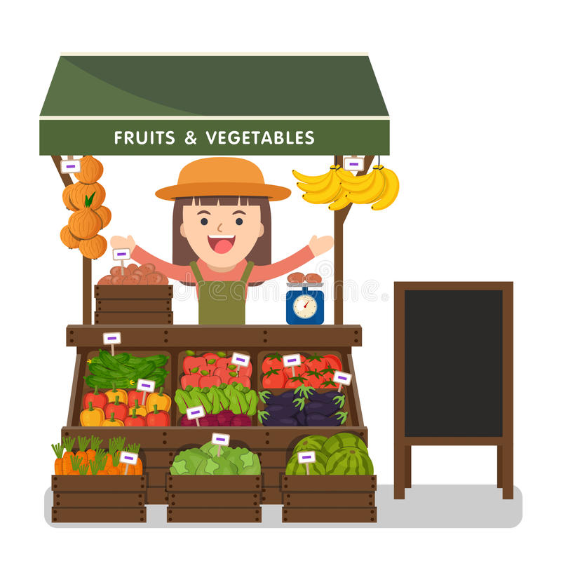 Local market farmer selling vegetables produce. Local market farmer selling vegetables produce on his stall with awning. Modern flat style realistic royalty free illustration