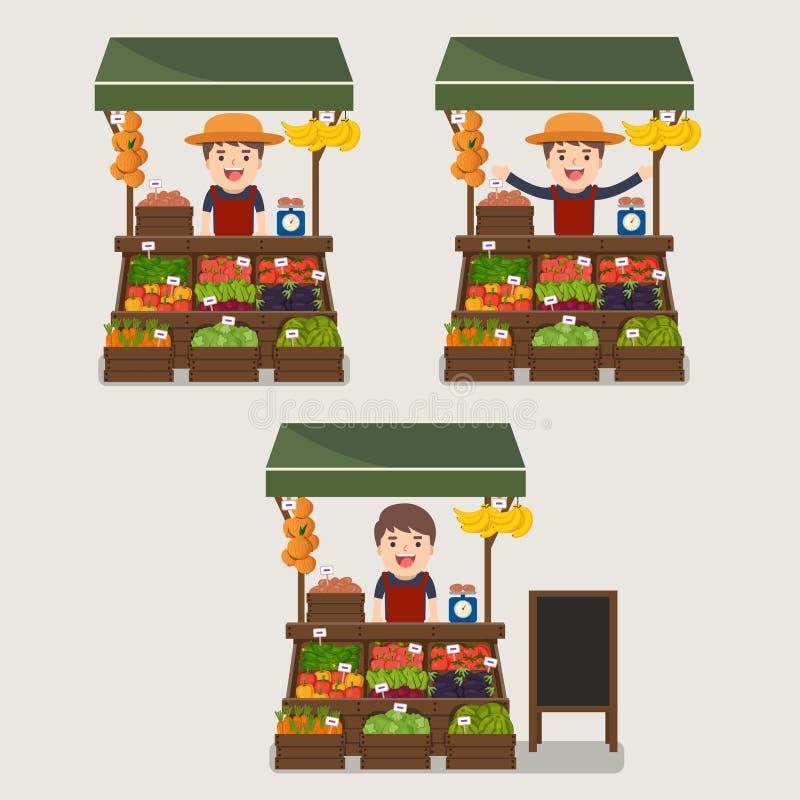 Local market farmer selling vegetables produce. royalty free illustration