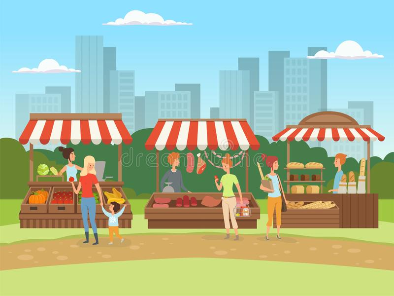 Local market. Food outdoor places in urban landscape bazaar owners with fruits vegetables meat and milk vector cartoon. Background. Local market food, fresh and vector illustration