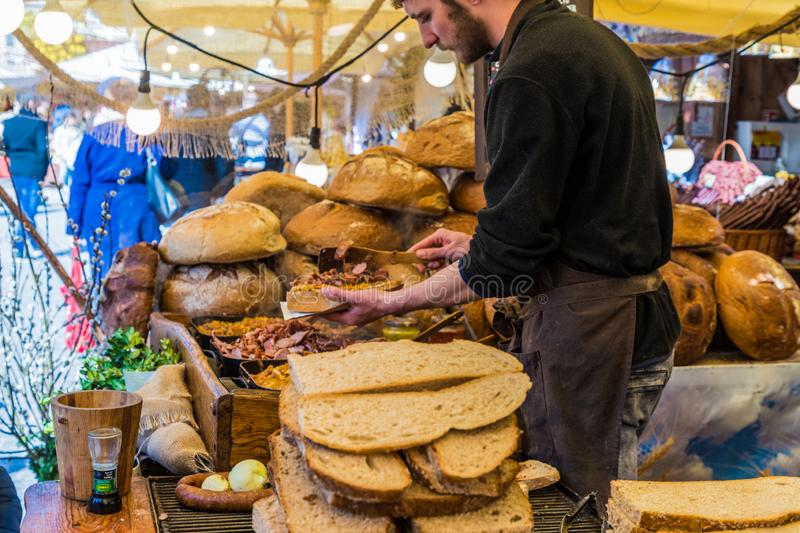 The local market in Krakow Old Town Main Square stock images