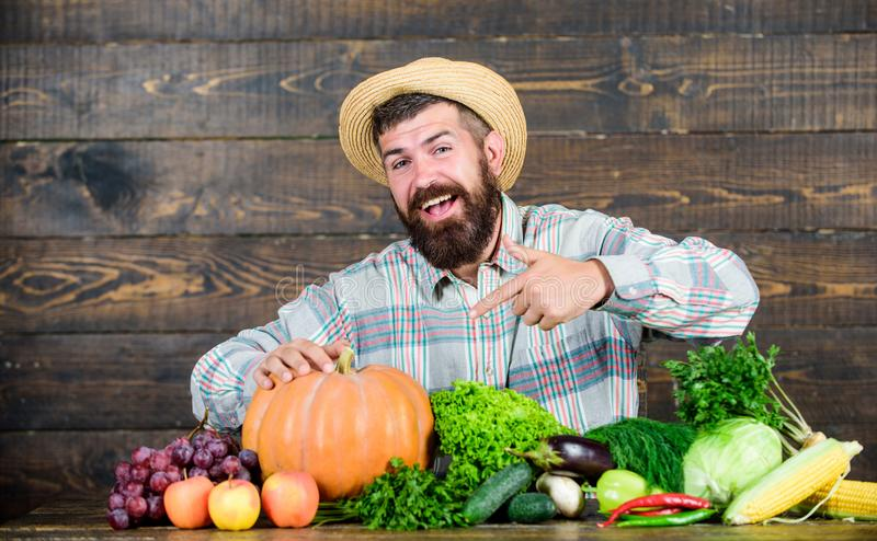 Local market. Locally grown crops concept. Homegrown vegetables. Buy vegetables local farm. Farm market harvest festival. Sell vegetables. Man bearded farmer stock photography