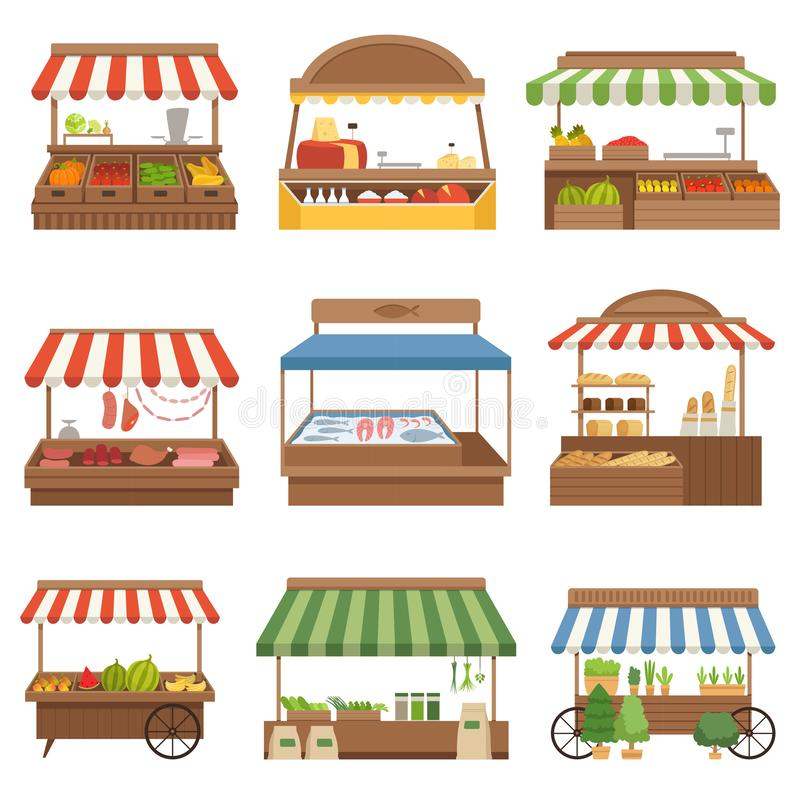 Local market. Outdoor shop places fresh farm foods vegetables fruits milk and meat owners vector illustrations. Market with fresh fruit and vegetable, products stock illustration