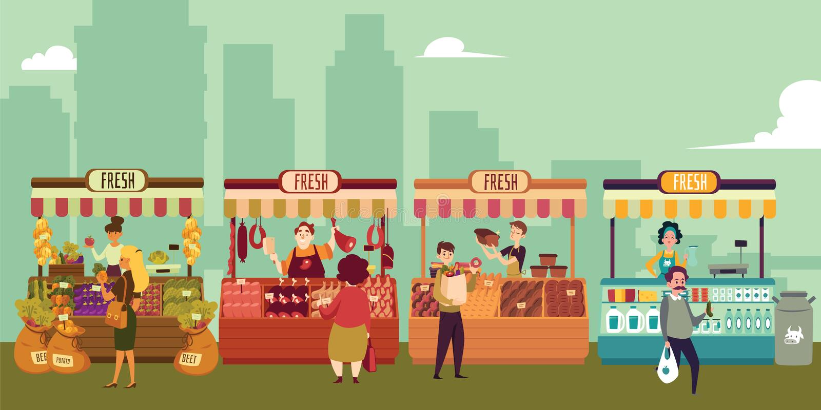 Local market place with fresh food in a big city. Buyers buy meat and milk, fruits and vegetables, bread and cheese from local market sellers. Isolated vector stock illustration