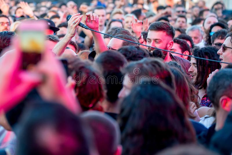 Local Natives indie rock music band perform in concert at Primavera Sound 2017. BARCELONA - MAY 31: Local Natives indie rock music band perform in concert at royalty free stock photography