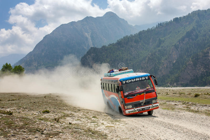Local nepalese bus driving crazy in the countryside royalty free stock photos
