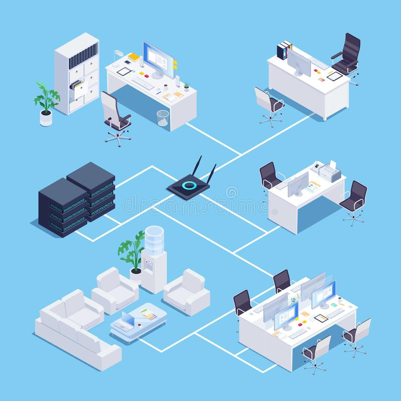 Isometric concept of local network in office. Local network. Isometric concept of local network in office. 3d office furniture. Vector illustration vector illustration