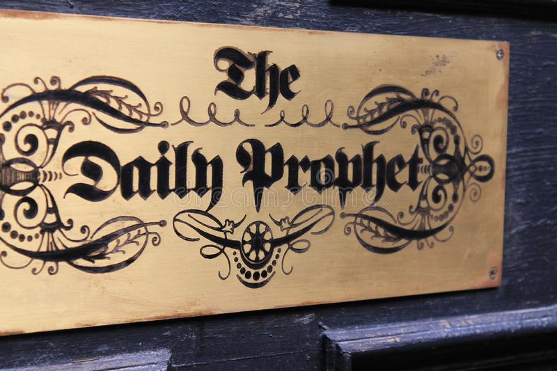 Local newspaper Harry potter universal studios. The Daily Prophet newspaper sign. Harry Potter attraction at Universal Studios in Orlando, Florida stock photo