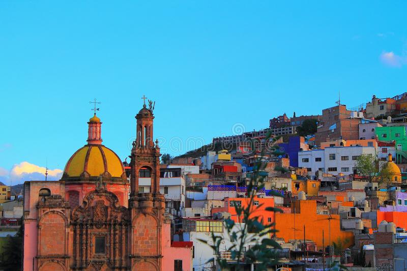 Local old Church Guanajuato. Sunset panoramic photo of church in the cityof Guanajuato Mexico stock image