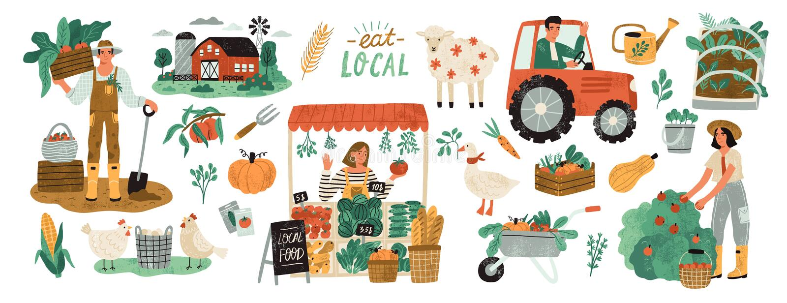 Local organic production set. Agricultural workers planting and gathering crops, working on tractor, farmer selling vector illustration