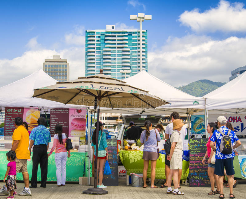 Local Outdoor Market, Honolulu, Hawaii stock photos