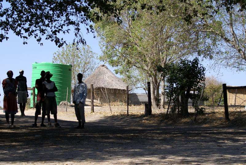 Local people at the boat launch in the Okavango Delta royalty free stock image