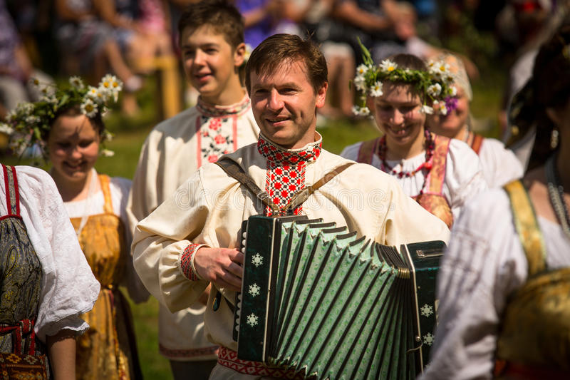 Local people celebrated Ivan Kupala Day, Tervenichi, Russia. stock images