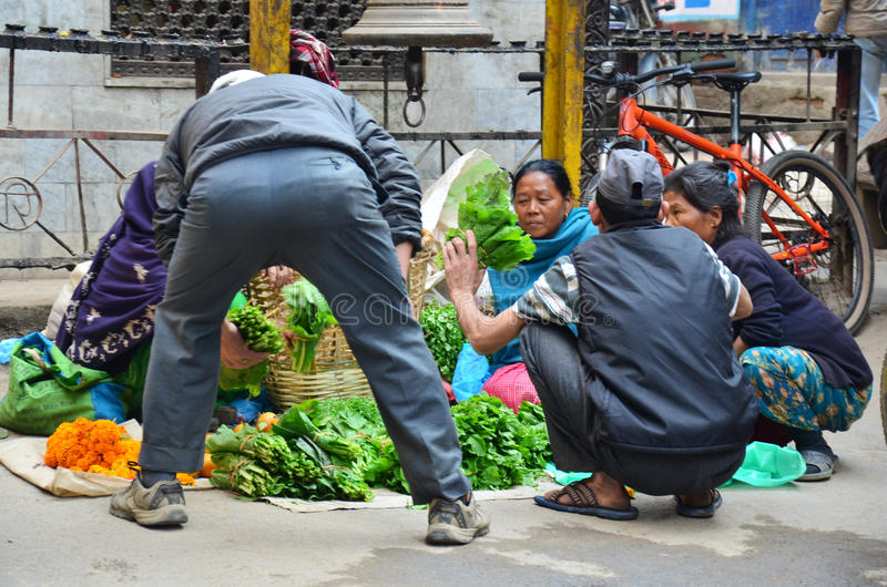 Local people on the street at Thamel market. Thamel is the tourist district of Kathmandu, the capital of Nepal. It is a full Wi-fi zone in Nepal. Thamel has been royalty free stock photography