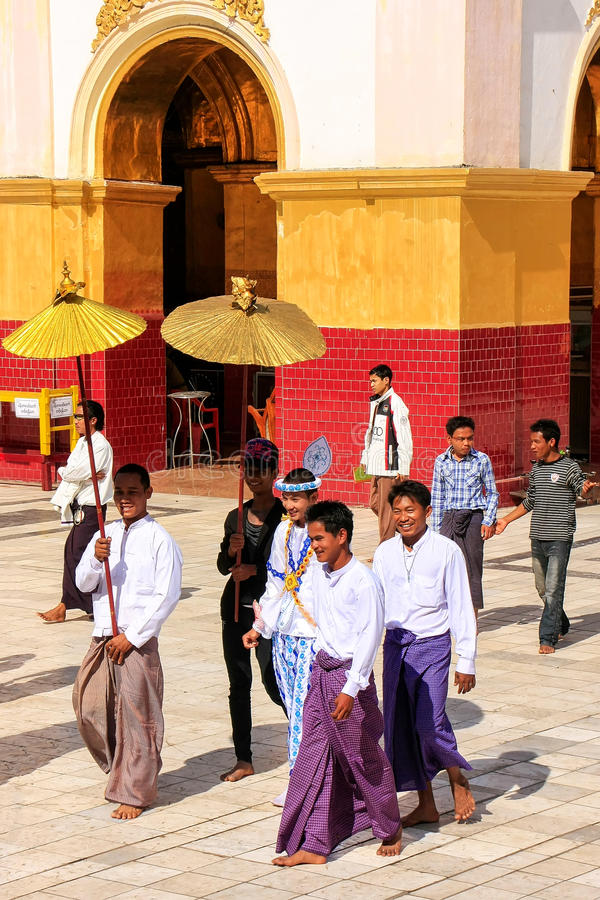 Download Local People In Traditional Costumes Taking Part Wedding Ceremony At Mahamuni Pagoda Mandalay