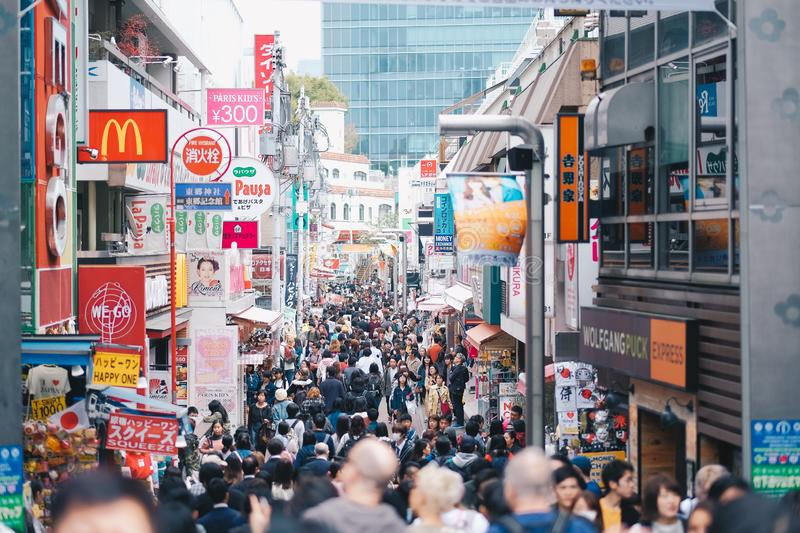 Local People and Traveler walking and shopping at Takeshita street in Harajuku, landmark and popular for tourist attractions. TOKY royalty free stock images