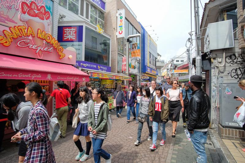 Local People and Traveler walking and shopping at Takeshita street in Harajuku, landmark and popular for tourist attractions. TOKY royalty free stock photography