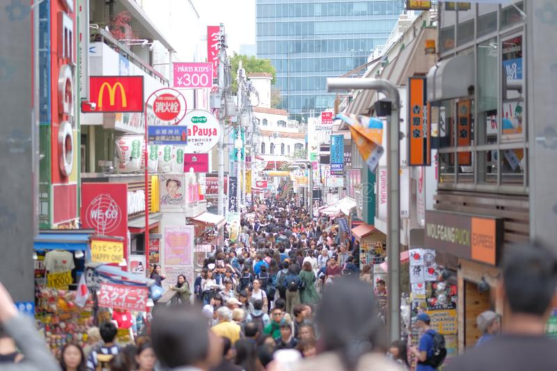 Local People and Traveler walking and shopping at Takeshita street in Harajuku, landmark and popular for tourist attractions. TOKY stock image