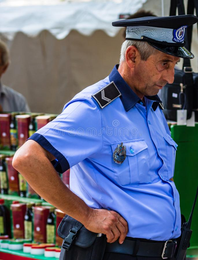 Local police on duty on the streets of Targoviste, Romania, 2019.  royalty free stock photography