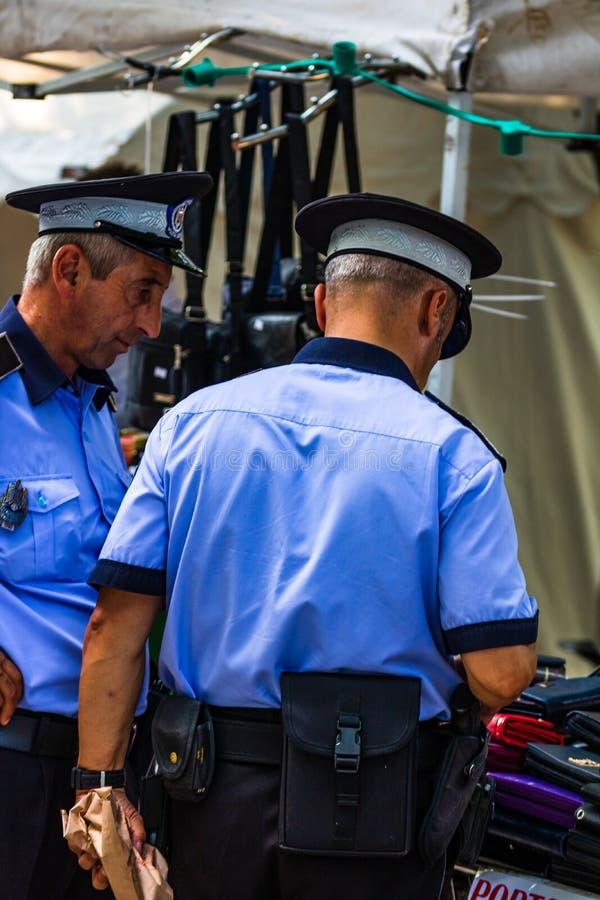 Local police on duty on the streets of Targoviste, Romania, 2019.  royalty free stock image
