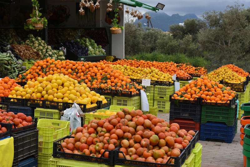 Local products on market in Cyprus royalty free stock photography
