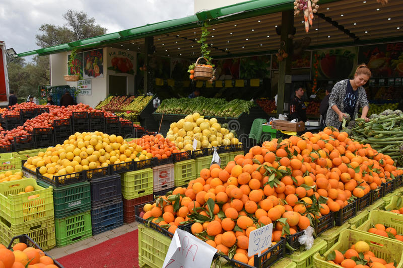 Local products on market in Cyprus. Local products, fresh fruit and vegetables on a organic market in the northern part of Cyprus. It is early in the morning and royalty free stock photos