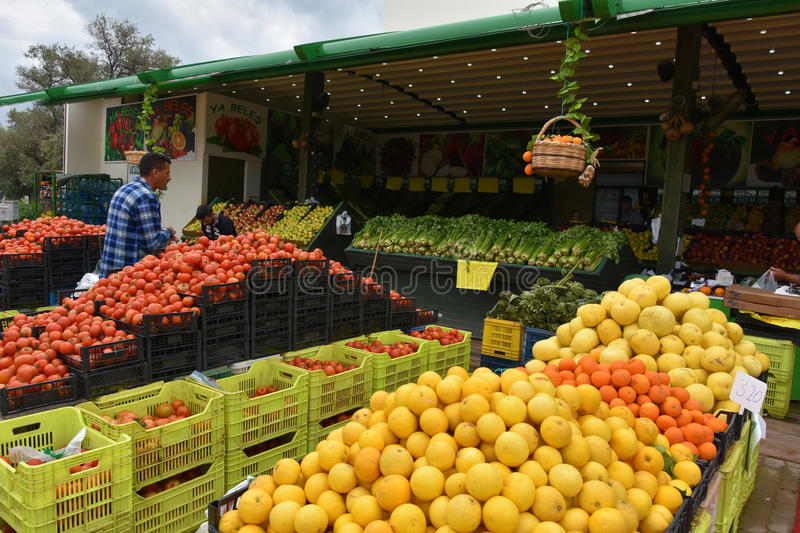 Local products on market in Cyprus. Local products, fresh fruit and vegetables on a organic market in the northern part of Cyprus.It is early in the morning and royalty free stock photography