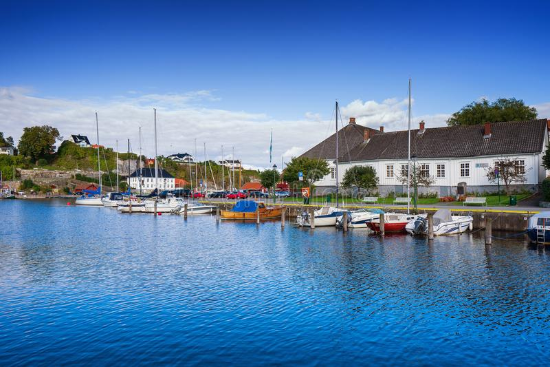 Local sea port in Norway. Porsgrunn, Telemark, Norway- SEP 18, 2017: Local sea port for travel and recreation in Brevik village, Porsgrunn, Norway stock image