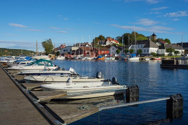 Local sea port in Norway. Porsgrunn, Telemark, Norway- SEP 17, 2017: Local sea port for travel and recreation in Brevik village, Porsgrunn, Norway royalty free stock images