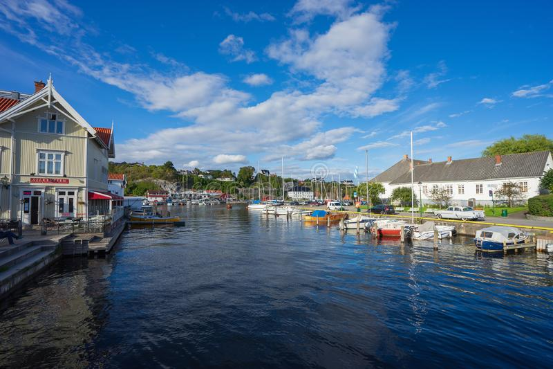 Local sea port in Norway. Porsgrunn, Telemark, Norway- SEP 17, 2017: Local sea port for travel and recreation in Brevik village, Porsgrunn, Norway stock photo