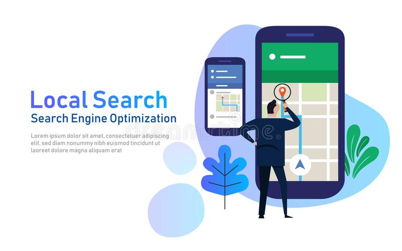 Local search marketing ecommerce. concept of mobile location SEO search engine optimization. large phone with business stock illustration