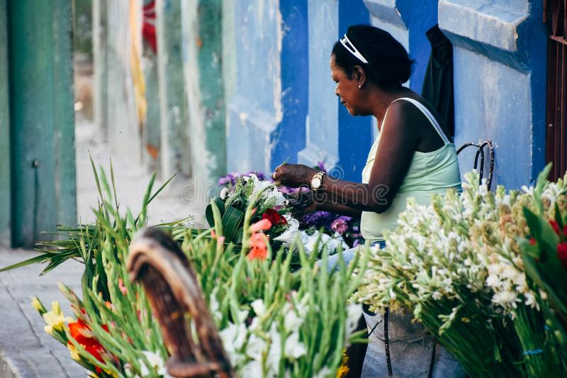 A local sells flower in the streets of Havana, Cuba. A local sells flower many different flowers in the streets of Havana, Cuba royalty free stock photos