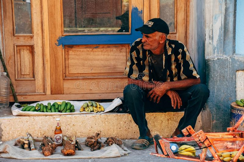 A local sells fruit and other goods in Trinidad, Cuba. A local sells fruit, rum and other goods in Trinidad, Cuba stock photo