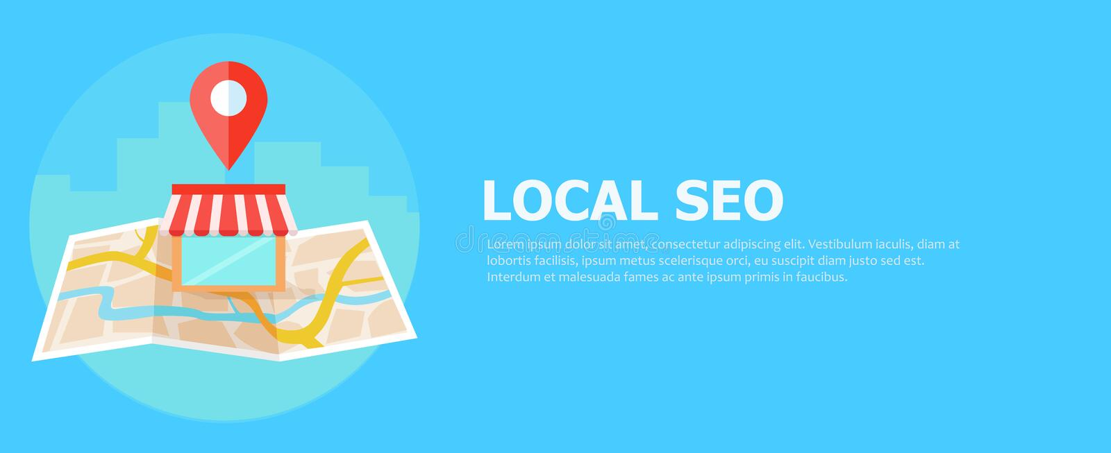 Local seo banner, Map and shop in realistic view. stock illustration