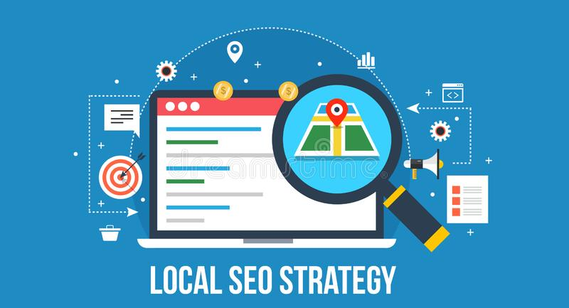 Local seo strategy - search engine optimization. royalty free illustration