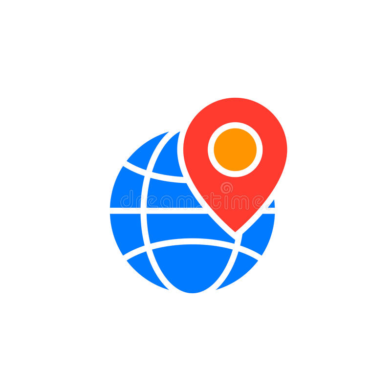 Local seo symbol. Globe and location marker icon vector, filled vector illustration