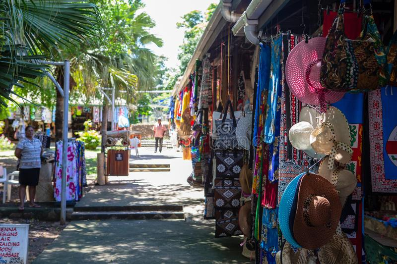Local shop lineup in Nadi, Fiji on march 7th 2019 stock photos