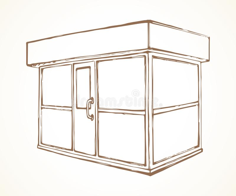 Shop stall. Vector drawing. Local show booth box stand exterior on white space for text. Black line hand draw empty town glass rack cabin symbol. Small urban royalty free illustration