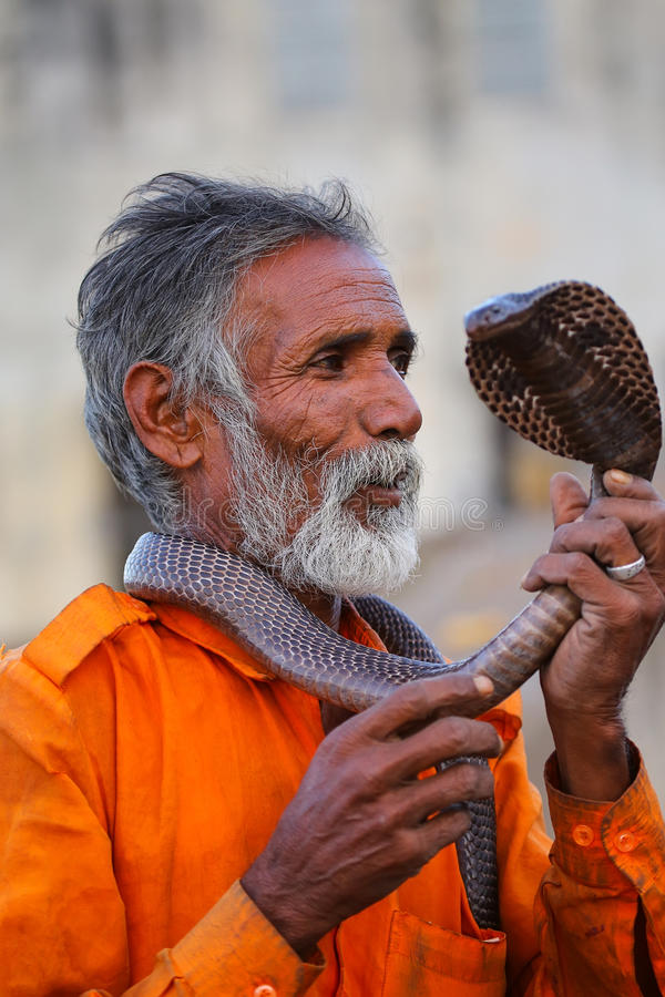 Local snake charmer holding Indian cobra in the street of Jaipur. India. Jaipur is the capital and largest city of the Indian state of Rajasthan stock images