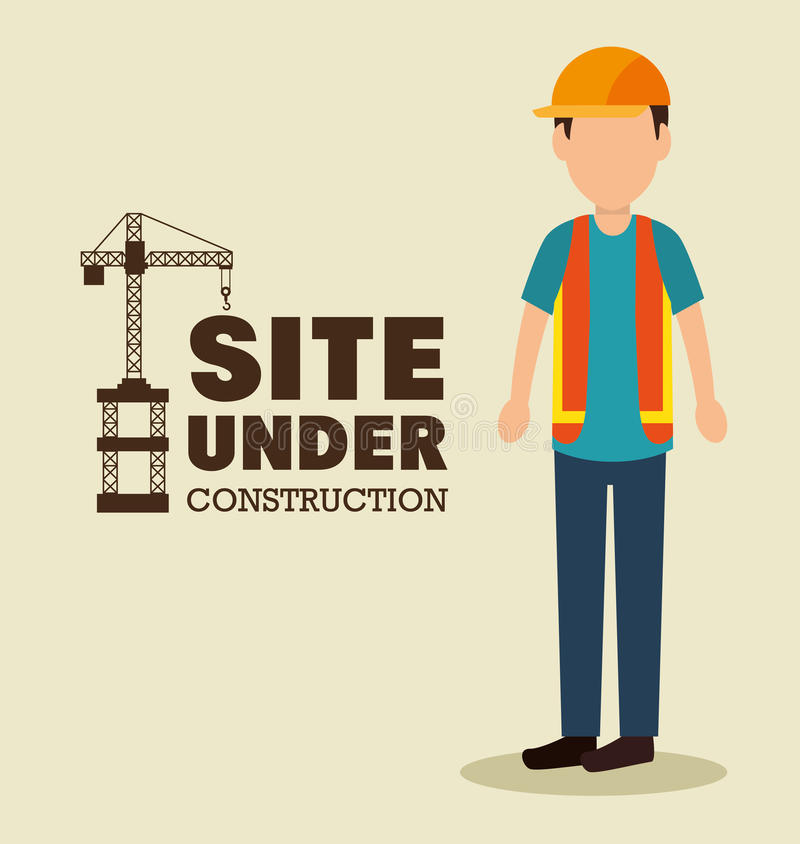 local sob o uniforme do trabalho do homem da construção ilustração do vetor