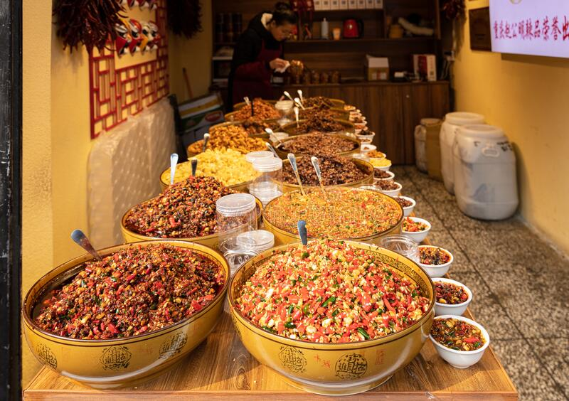 Local special chili products in a shop at Ciqikou Porcelain Port royalty free stock photos