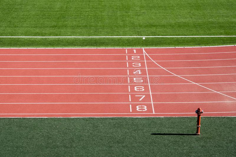 Local stadium and running track.  royalty free stock images