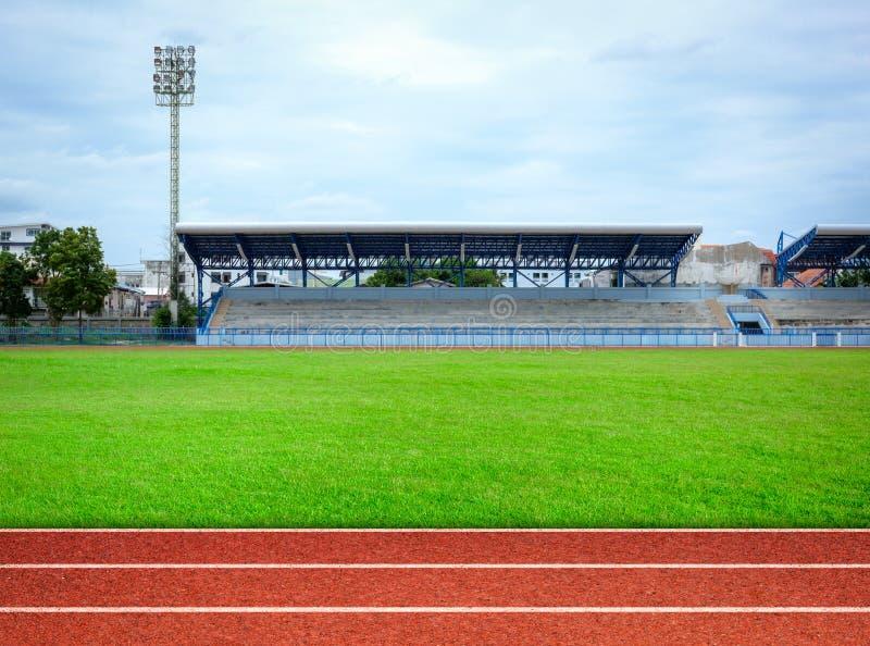 Local stadium. And running track stock image