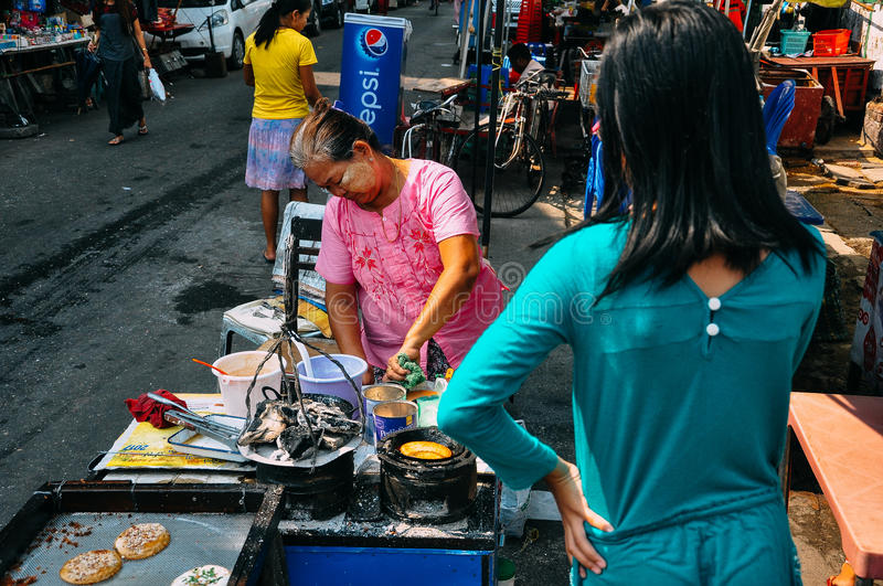 Local street food in Yangon. stock photography