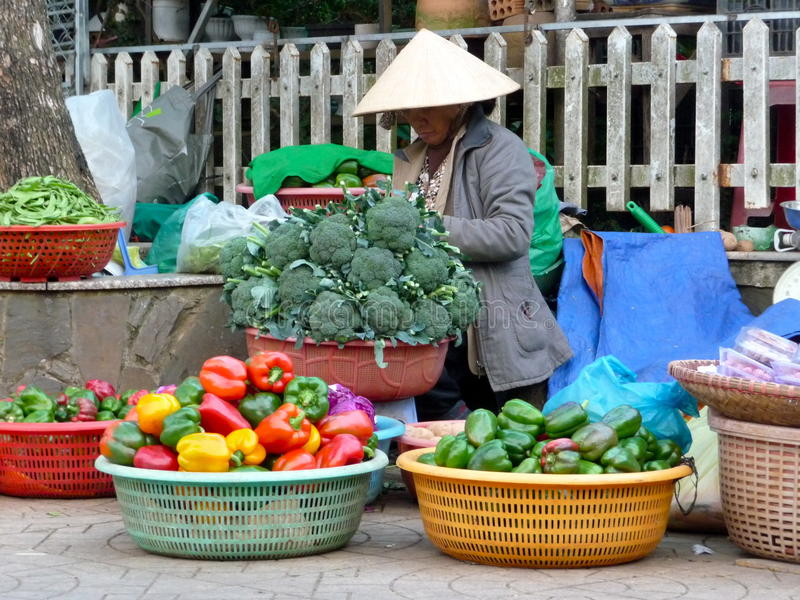 Local street market in Vietnam royalty free stock photo
