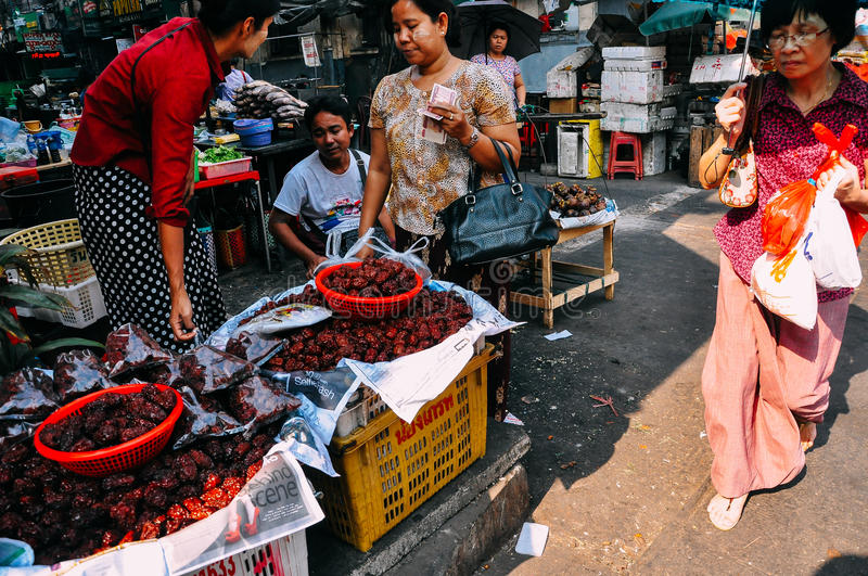Local street market in Yangon. royalty free stock photos