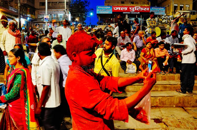 A local takes a selfie in Varanasi, India. royalty free stock photo