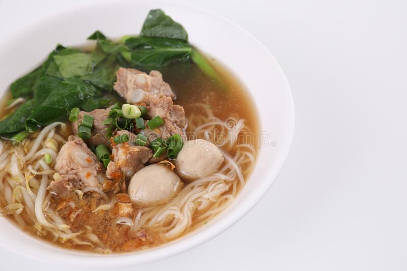 Local Thai food , Noodle with meat ball and pork isolated in white background stock image