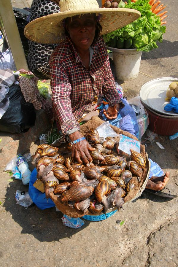 A local trader selling snails at a street market in Accra, Ghana. Sitting on the ground with a bucket full of fresh live snails royalty free stock images