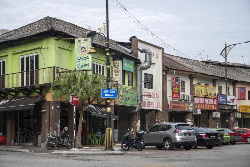 Local typical street view in Johor Bahru of Malaysia. Johor Bahru, Malaysia- 27 Jan, 2020: Local typical street view in Johor Bahru of Malaysia. Johor Bahru is stock photography